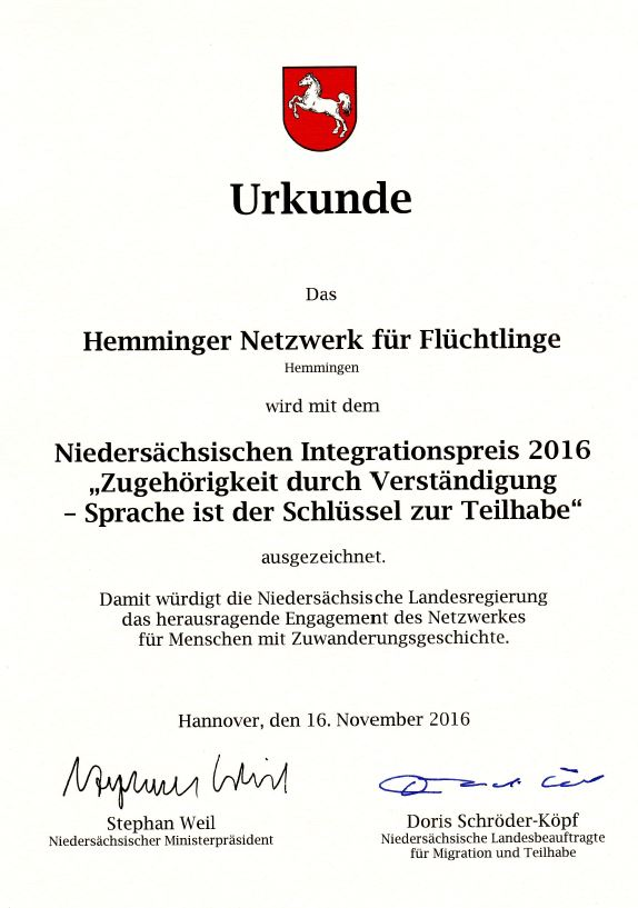 Urkunde Integrationspreis